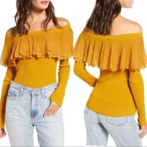 English Factory Off The Shoulder Ruffle Sweater S